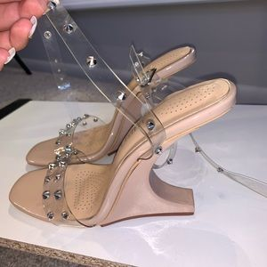 Nude & studded strappy heels